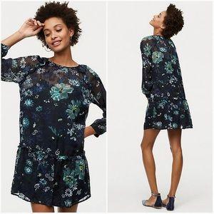 Loft Winter Garden Flounce Dress